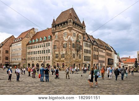 Nuremberg, Germany - April 6, 2017: Nuremberg market square in Bavaria, Germany