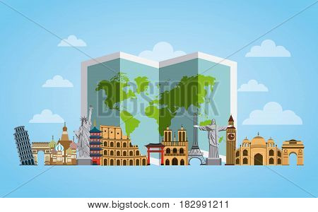 iconics monuments of the world and map over blue background. travel and tourism design. vector illustraiton