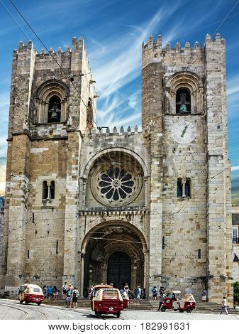 Lisbon, Portugal - April 22, 2017: Cathedral church Se (Santa Maria Maior de Lisboa)