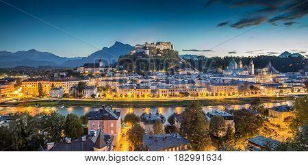 Historic City Of Salzburg At Dusk, Salzburger Land, Austria