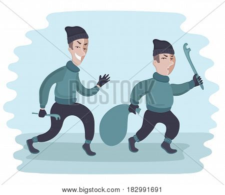 Vector cartoon funny illustration of two suspicious men carry crowbar and a sack. Two guys are stealing. Thieves.