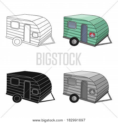 Green caravan icon in cartoon design isolated on white background. Family holiday symbol stock vector illustration.