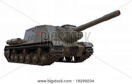 World War Two Legendary Soviet Self-propelled Gun Isu-152 Or Tank Hanter Isolated Over White Backgro