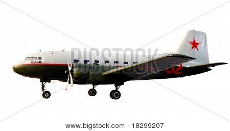 World War Two Lend-lease Retro Propeller Airplane Dc-3 Or Li-2 Isolate Over White With Sunset Shine