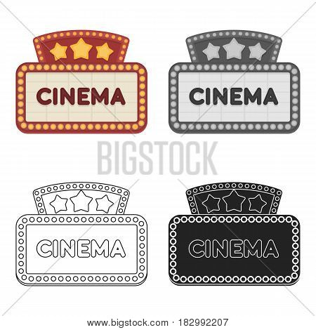 Cinema signboard icon in cartoon style isolated on white background. Films and cinema symbol vector illustration.