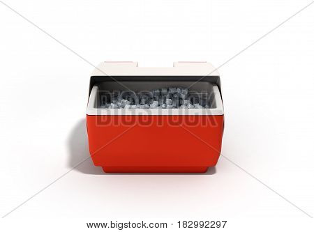 Closed Refrigerator Box Red 3D Render On White Background