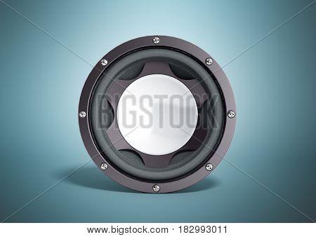 Black Loudspeaker 3D Render On Blue Background