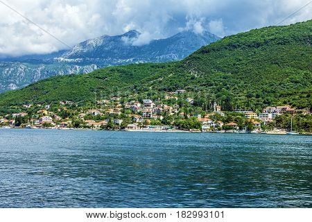 Kotor bay, Montenegro. Panoramic view on town