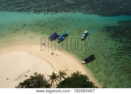The view from top of the lighthouse in Lengkuas Island, Belitung, Indonesia