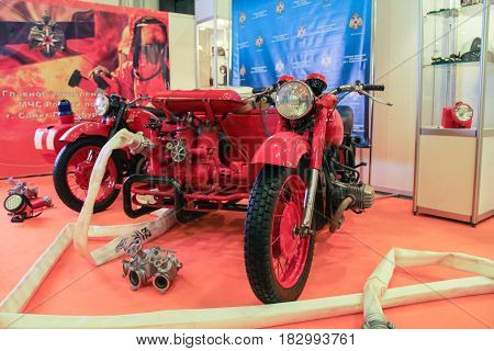 St. Petersburg Russia - 15 April, Fire truck with water pump,15 April, 2017. International Motor Show IMIS-2017 in Expoforurum. Motorcycles and motoconcepts presented at St. Petersburg Motor Show.