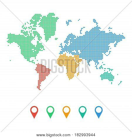 Colourful dotted world map of continents isolated