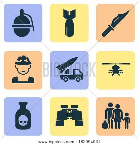 Combat Icons Set. Collection Of Cutter, Bombshell, Rocket And Other Elements. Also Includes Symbols Such As Danger, Refugee, Knife.