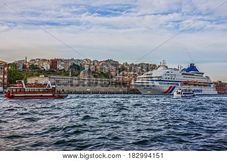 Istanbul, Turkey - April 3, 2017: Luxury cruise liner Louis Cristal in Bosporus, Istanbul.