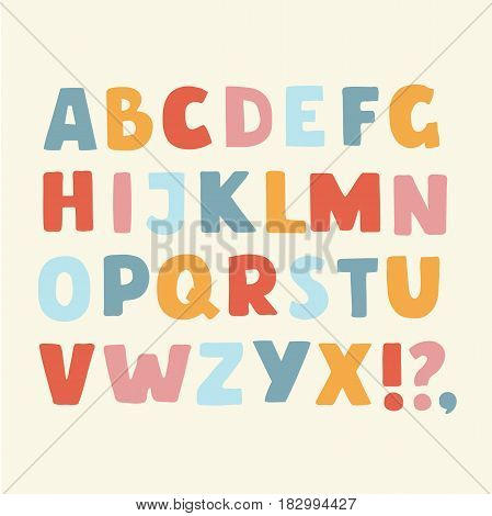 Vector cartoon funny alphabet color set of colorful cute bold latin alphabet