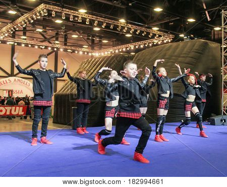 St. Petersburg Russia - 15 April, Dancing group hip hop on stage,15 April, 2017. International Motor Show IMIS-2017 in Expoforurum. Dance show group of teenagers in the style of hip-hop.