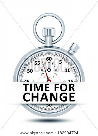 An image of a stopwatch with text time for change