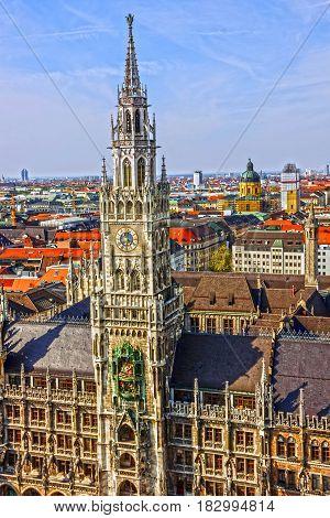 Munich, Bavaria, Germany. Town Hall building Marienplatz clock tower