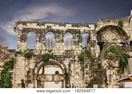 Ruins in Croatia, Split Diocletian palace iwall
