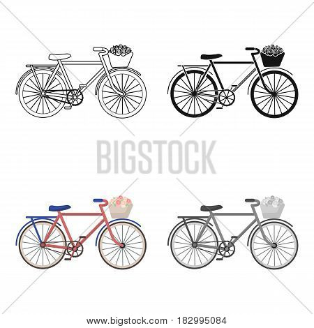 Pink bicycle with basket icon in cartoon design isolated on white background. France country symbol stock vector illustration.