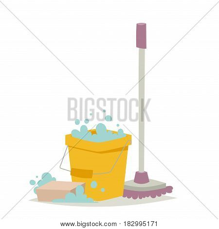 Cleanser brush chemical housework product and care wash plastic equipment cleaning liquid flat vector illustration. Hygiene domestic container toiletries household tool.