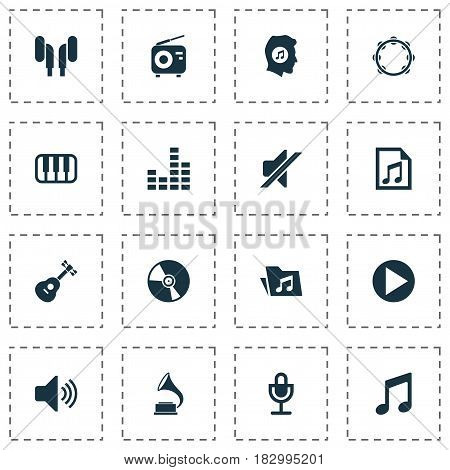 Music Icons Set. Collection Of Instrument, Dossier, Music And Other Elements. Also Includes Symbols Such As Tambourine, Play, File.