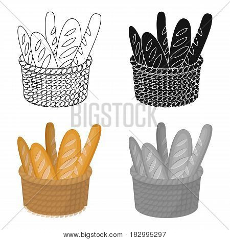 Basket of baguette icon in cartoon design isolated on white background. France country symbol stock vector illustration.
