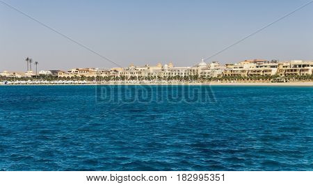 Egypt. Hurghada. Landscape From The Sea Vidneetsya Horizon Line With The Hotel.