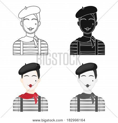French mime icon in cartoon design isolated on white background. France country symbol stock vector illustration.