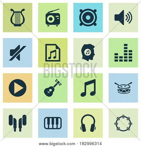 Multimedia Icons Set. Collection Of File, Earmuff, Timbrel And Other Elements. Also Includes Symbols Such As Meloman, Mute, Percussion.
