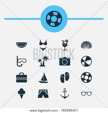 Sun Icons Set. Collection Of Sweets, Baggage, Goggles And Other Elements. Also Includes Symbols Such As Sunglasses, Palms, Bikini.