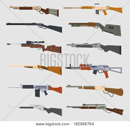 Machine guns weapons and military set. Sub machine guns, pistol and bullets icons isolated on white background. Symbolics badge army assault war metal weapon vector illustration.