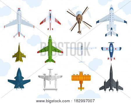 Color airplanes, helicopters icons top view vector illustration isolated. Travel by air flight vacation transport passenger plane. Turbine voyage pilot jet.