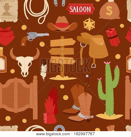 Wild west cartoon icons set cowboy rodeo equipment and different accessories vector illustration seamless pattern.