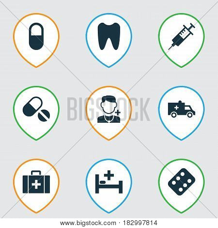 Drug Icons Set. Collection Of Injection, Remedy, Pills And Other Elements. Also Includes Symbols Such As Medicament, Syringe, Remedy.