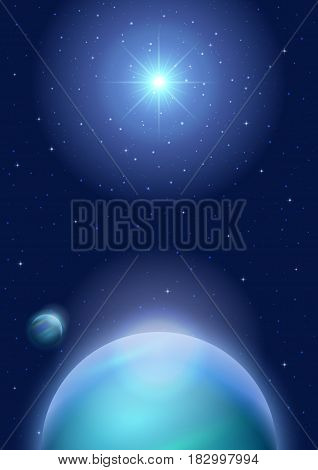 Fantastic Space Background with Unexplored Blue Planet, Satellite, Sun and Stars. Eps10, Contains Transparencies. Vector