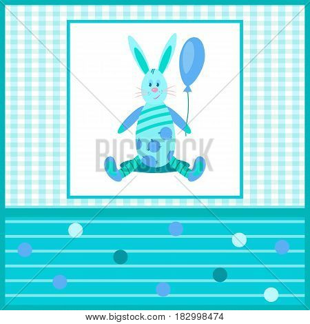 Beautiful blue card with a Bunny holding a balloon.Pattern checkered and striped, circle.Suitable for congratulations on the birth of a boy and other holidays.