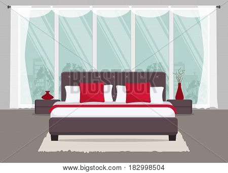 Bedroom with brown bed and red pillows on a window background. There are also bedside tables and a vase with decorative branches in the picture. Vector flat illustration.