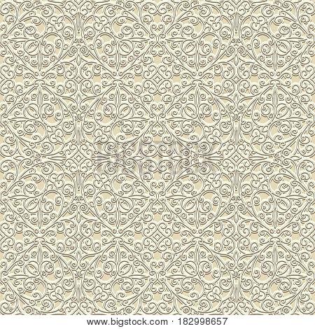Vintage beige ornamental background, seamless pattern in neutral color