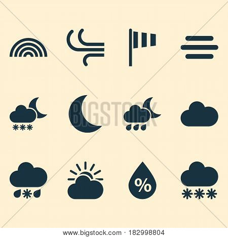 Nature Icons Set. Collection Of Moisture, Wet, Night And Other Elements. Also Includes Symbols Such As Sleet, Sunlight, Fog.