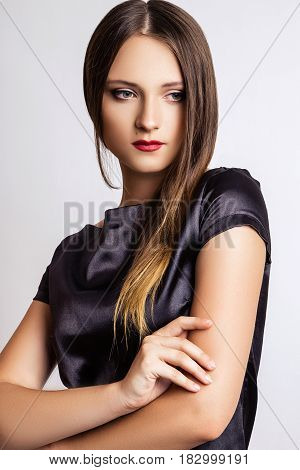 Studio Photo Of Young  Woman On White Background .