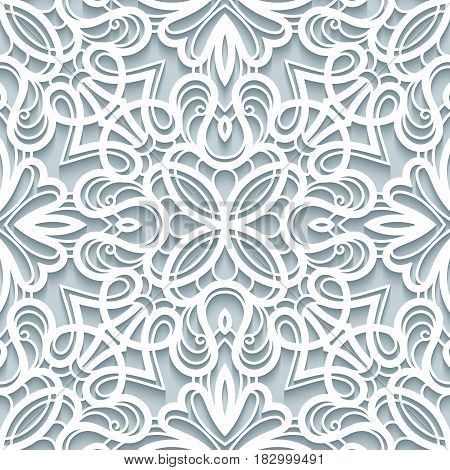 Elegant lace texture, seamless lace pattern, cutout paper ornament in neutral color