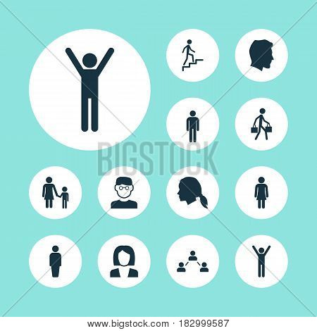 People Icons Set. Collection Of Male, Gentleman, Scientist And Other Elements. Also Includes Symbols Such As User, Man, Ladder.