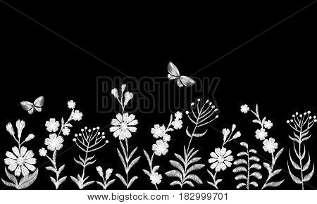 Black and white monochrome field flower embroidery. Traditional vintage decoration seamless border. Field rustic daisy herbs butterfly vector illustration art patch