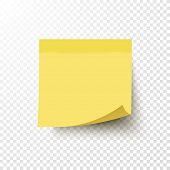 Yellow sticky note with curled corner isolated on transparent background. Note post memo label. Realistic template mockup with shadow for your projects. Vector stock illustration. poster