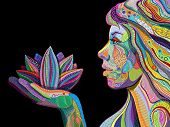 woman face with multicolored indian pattern holding lotus flower side view digital painting poster
