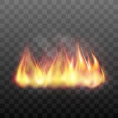 Realistic bright blazing campfire effect. Flaming bonfire, flame graphic design element. Vector illustration of fire isolated on black transparent background poster