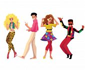 People in 1980s, eighties style clothes dancing disco, cartoon vector illustration isolated on white background. Men and women in 80s style clothing dancing at retro disco party poster
