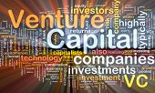Background concept wordcloud illustration of venture capital glowing light poster
