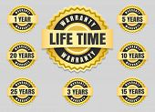 Service lifetime and years warranty labels and guarantee seals vector icons set poster
