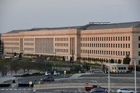 ARLINGTON, VA - APR 15: The Pentagon in Arlington County, Virginia, as seen on April 15, 2017. It is the headquarters of the United States Department of Defense.